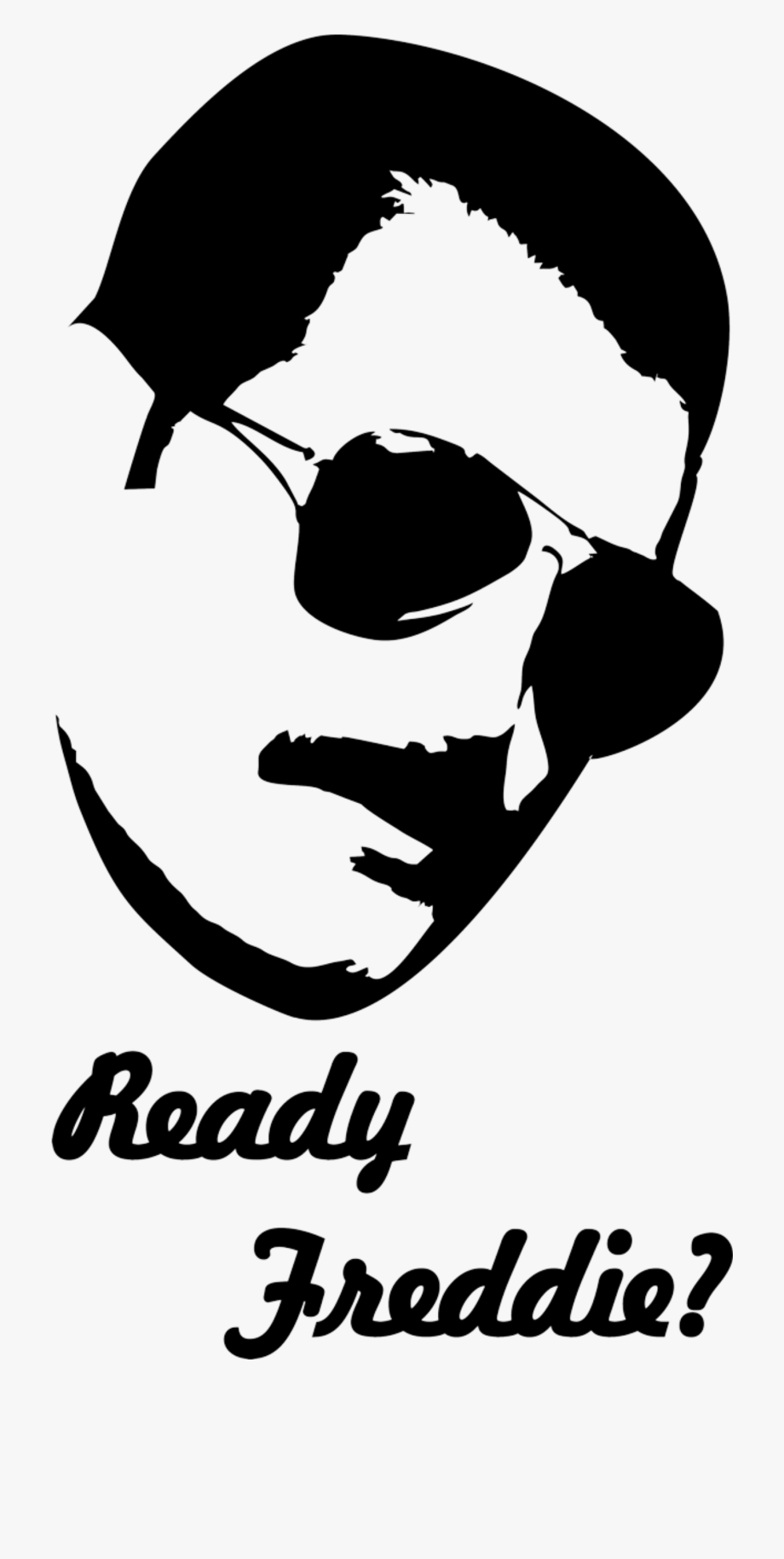 Stencil Of Freddie Mercury From Queen With A Quote.