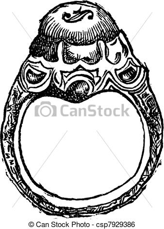 Clip Art Vector of Ring of Frederick the Great vintage engraving.