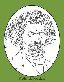 Frederick Douglass Realistic Clip Art, Coloring Page and Mini Poster.