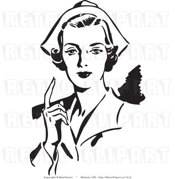 Royalty Free Black and White Retro Vector Clip Art of a Nurse.