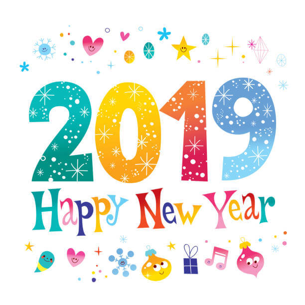 Royalty Free Happy New Year 2019 Clipart.