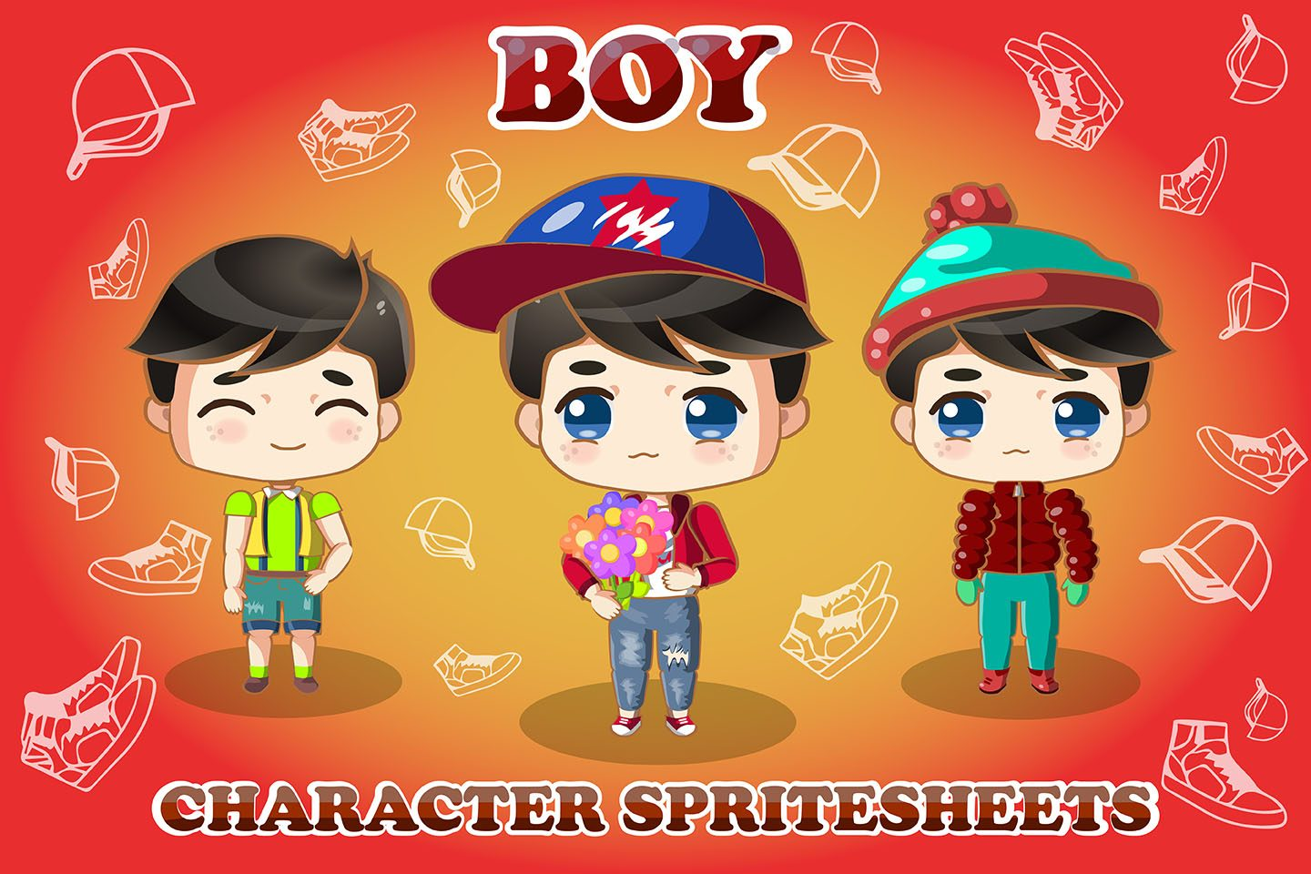 2D Game Chibi Boy Free Character Sprite Sheet.