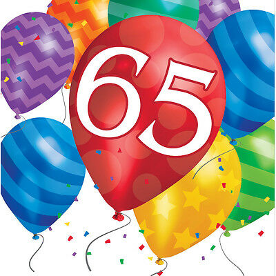 65th Birthday Party Napkins Age 65 tableware Paper Serviettes FREE P&P.