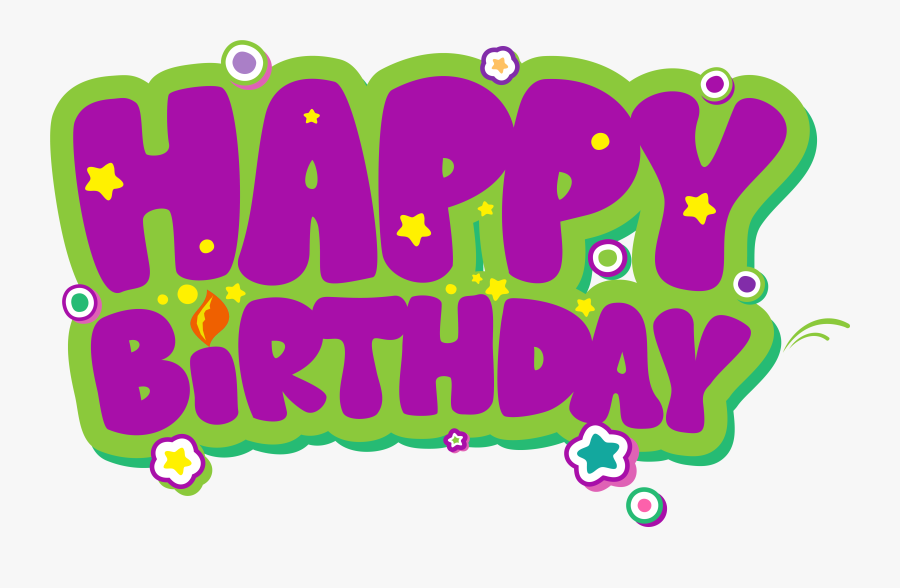Purple And Green Happy Birthday Png Clipart Picture.