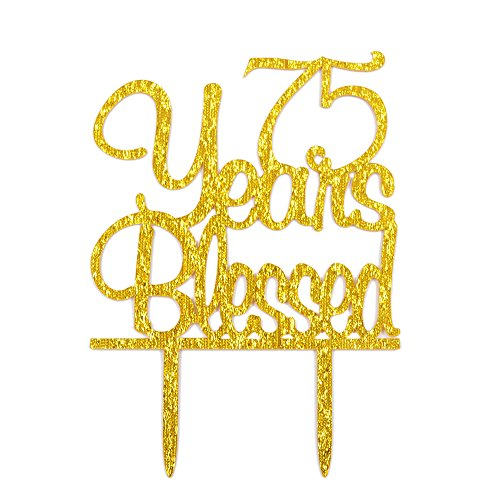 Firefairy(TM) 75 Years Blessed Acrylic Cake Topper 75th.