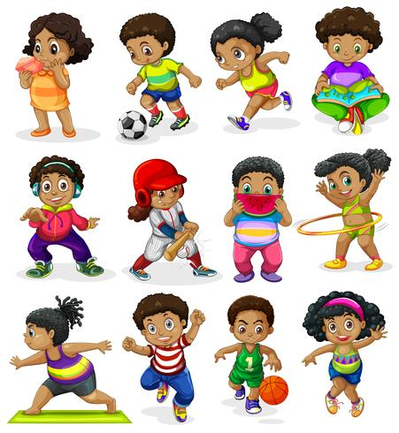 Set of african american kids.