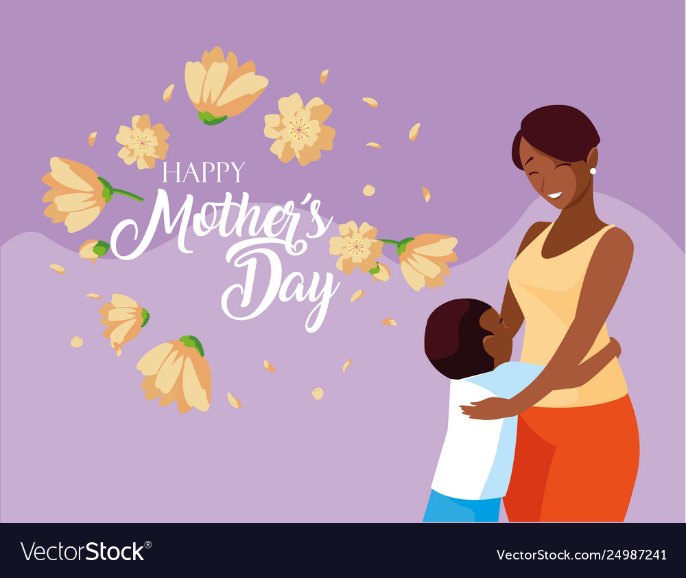 Happy mother day card with mom black and son.