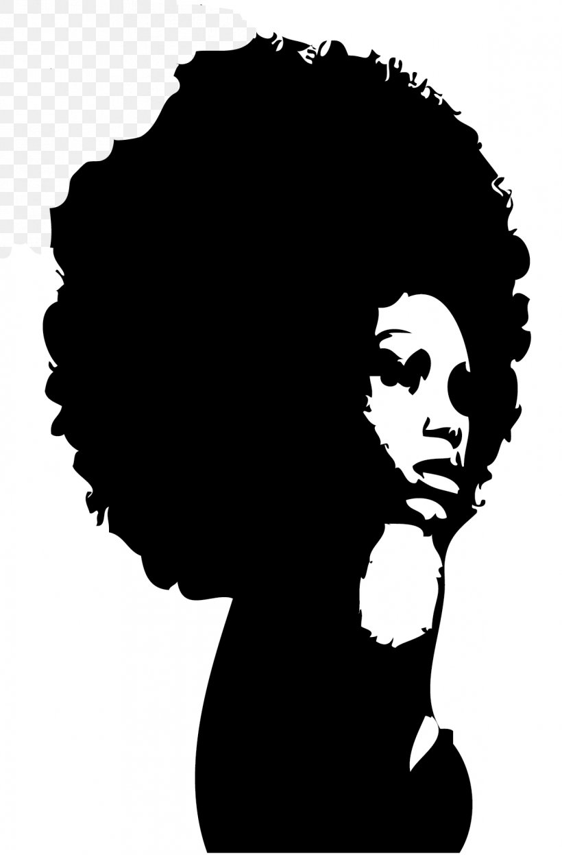 Silhouette Black African American Female Clip Art, PNG.