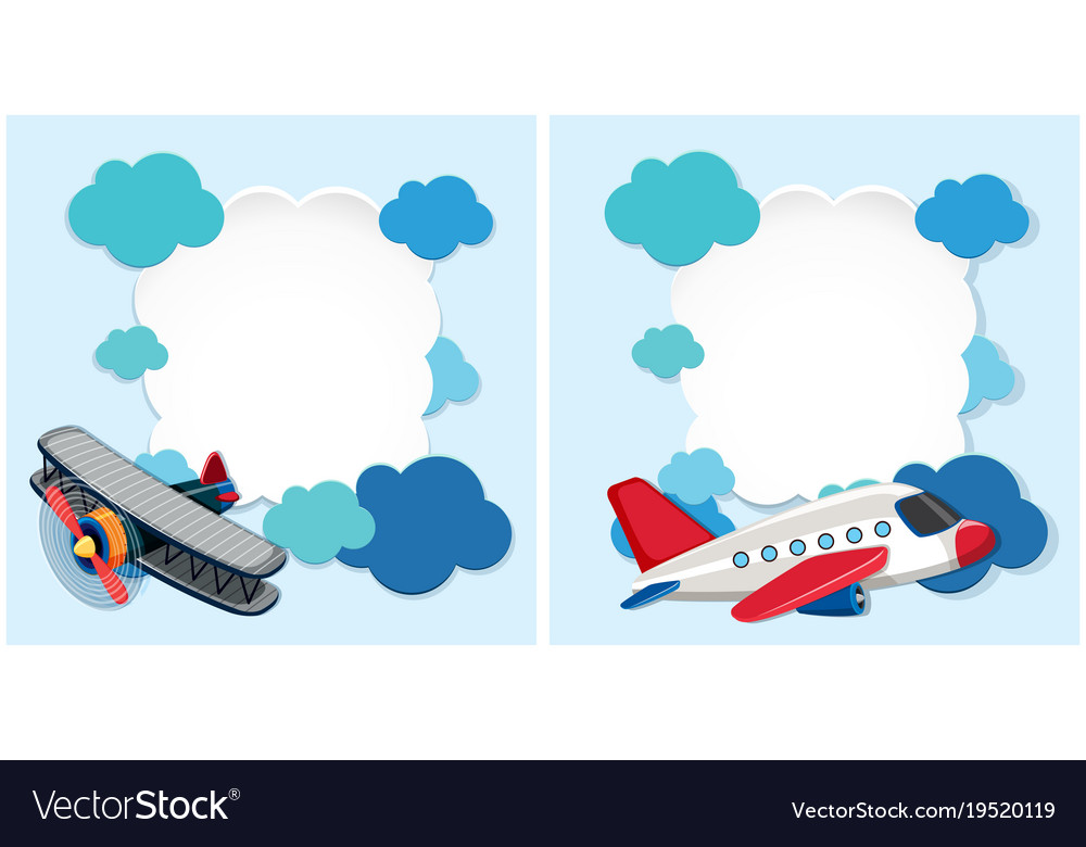 Border templates with airplanes and blue clouds.