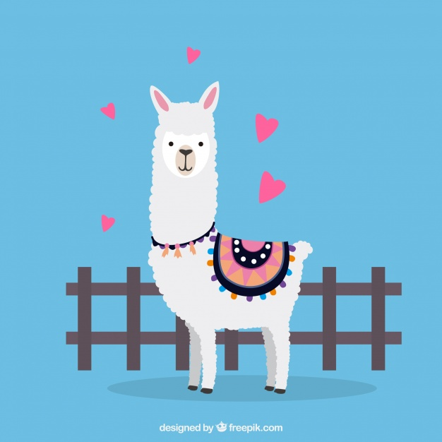 Lovely alpaca character with flat design Vector.