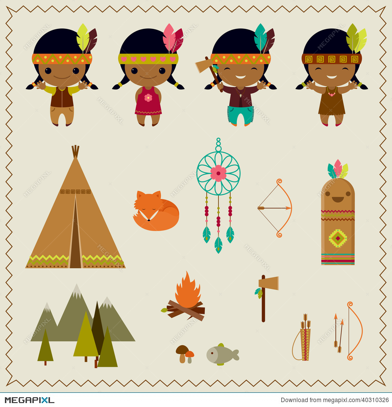 American Indian Clipart Icons Design Illustration 40310326.