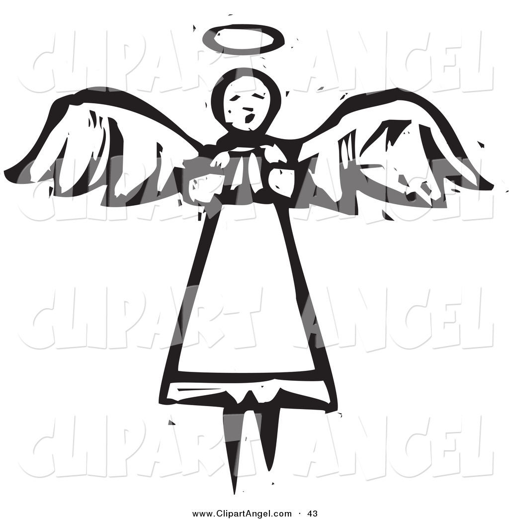Flying Angel Clipart Black And White.