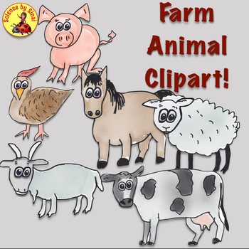 FREE Whimsical FARM ANIMALS CLIP ART for Personal or Commercial Use.
