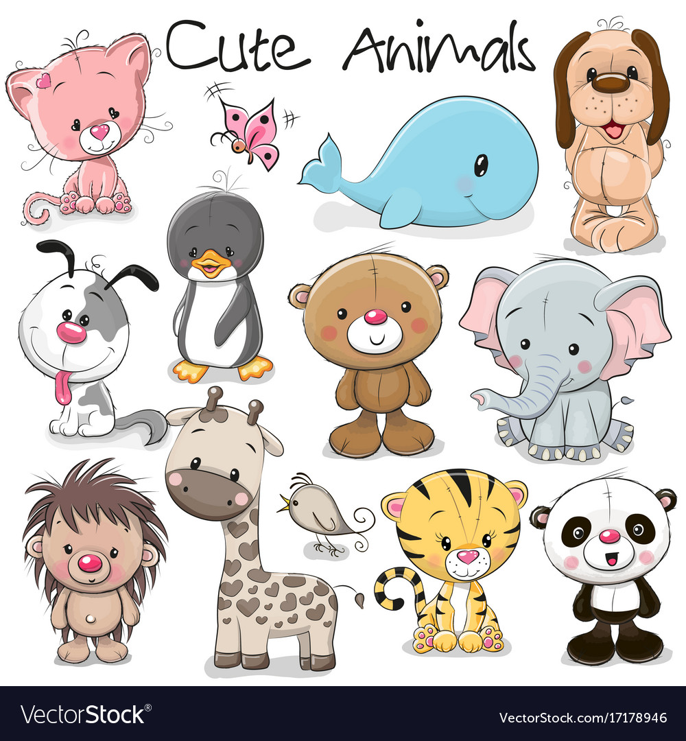 Set cute animals.