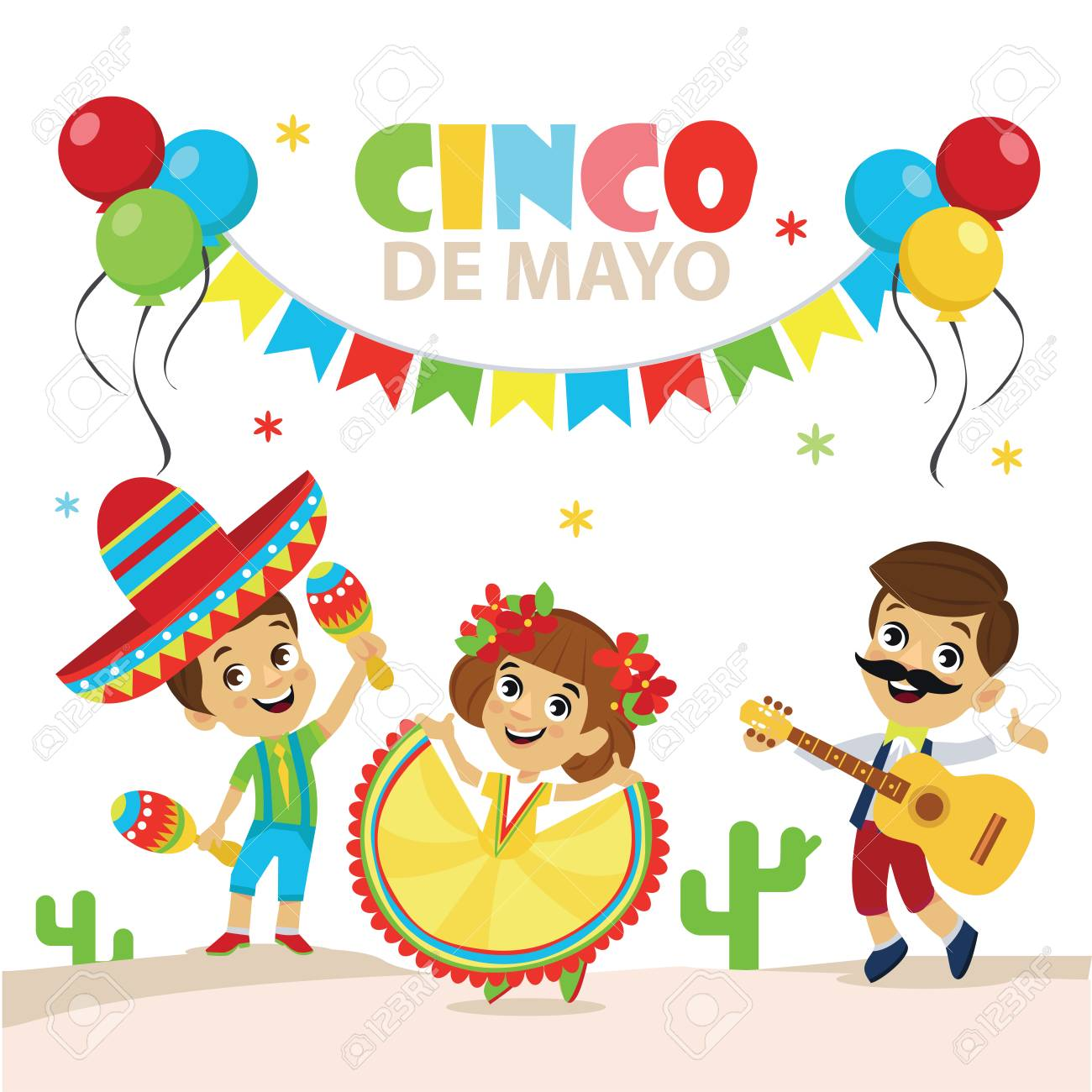 Cinco De Mayo Party Set of character. Happy mexican costume wearing...