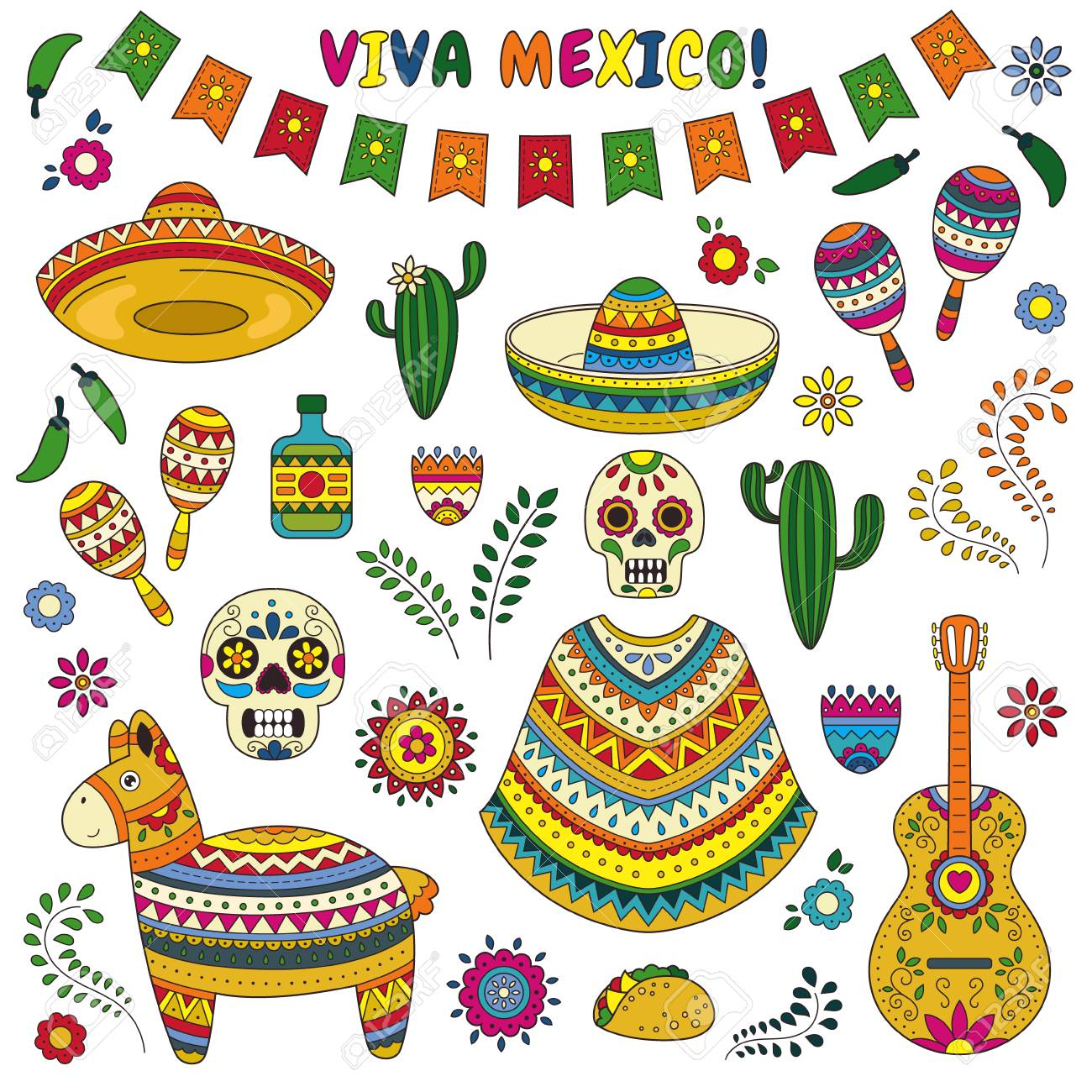 Cartoon doodle collection objects for Cinco de Mayo parade with...