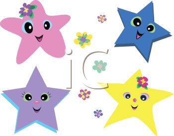 Royalty Free Clipart Image: Whimsical Animated Stars.