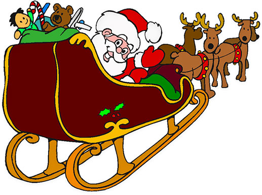 Free Animated Clipart Santa Sleigh.