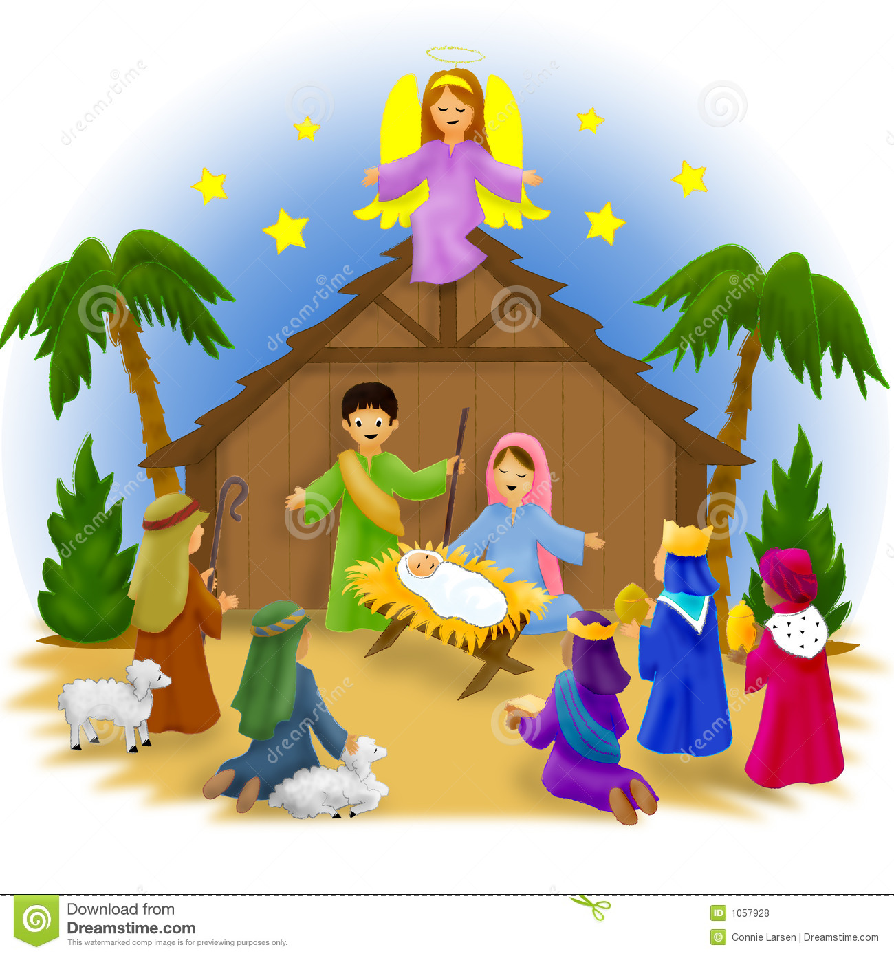 3997 Nativity free clipart.