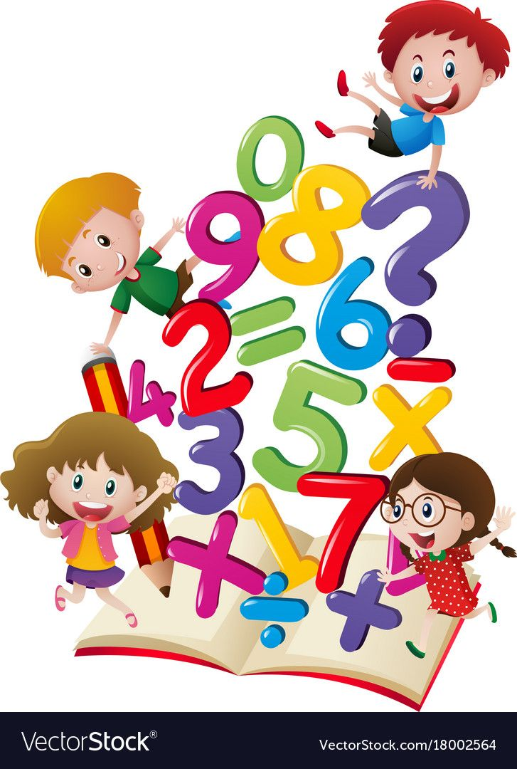 Many children with numbers in the book Royalty Free Vector.