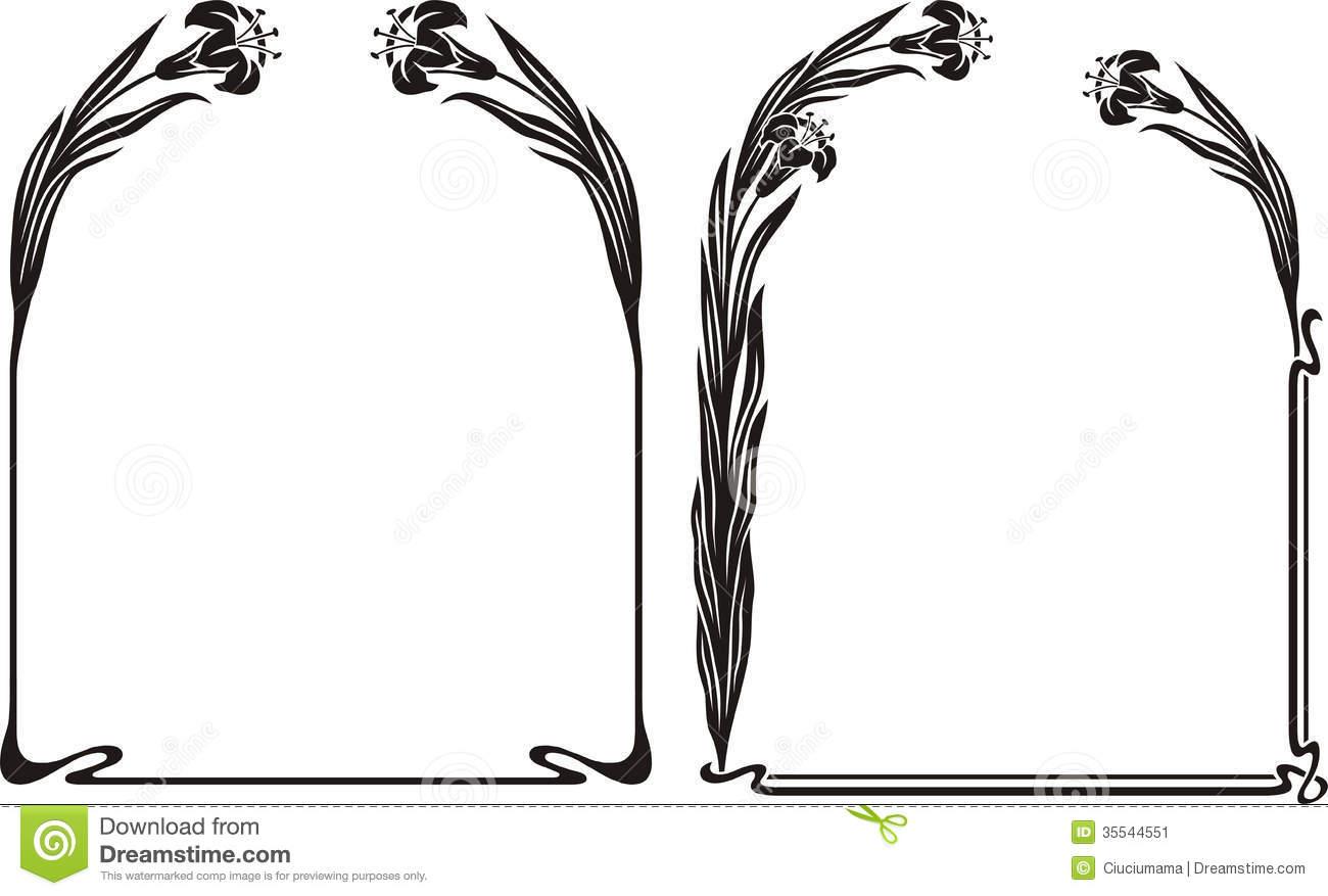 Art deco iris frame stock vector. Illustration of leaves.