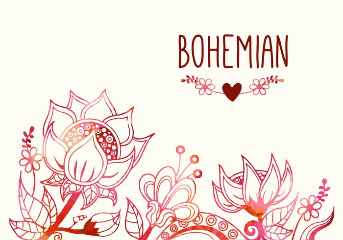 Free Bohemian Flourish Vector Illustration.