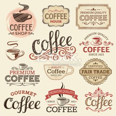 Hand Drawn Vintage Coffee Labels Royalty Free Stock Vector Art.