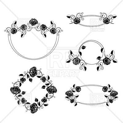 Ornate floral art nouveau frames with roses Stock Vector Image.