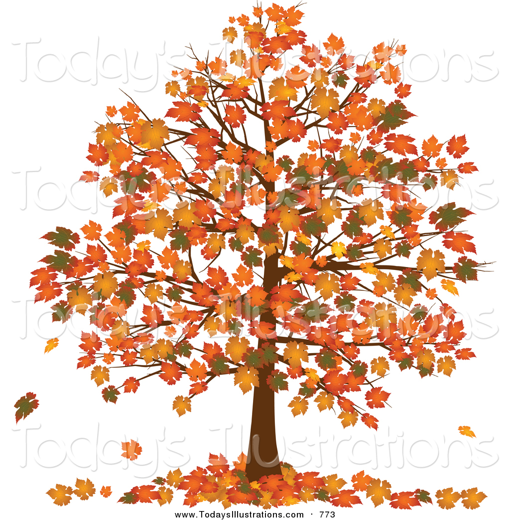 Clipart of a Fall Tree with Vibrantly Colored Orange and Yellow.