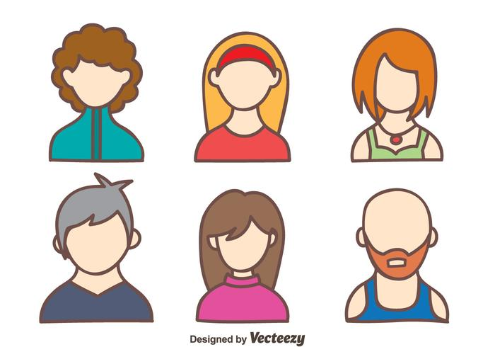 Hand Drawn People Avatar Vector.