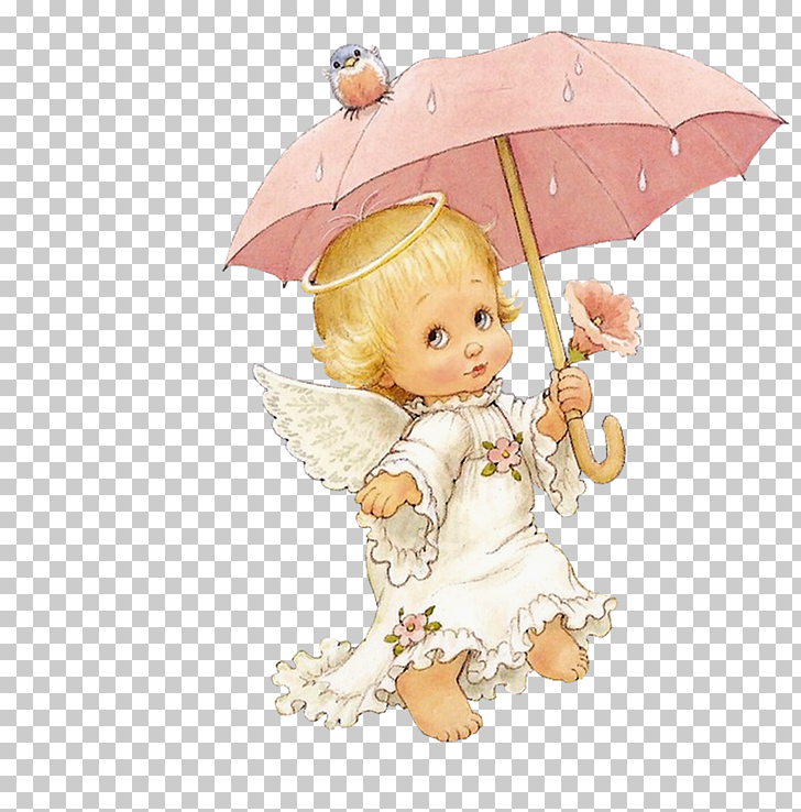 Angel Infant Child , Cute Angel with Parasol Free , baby.