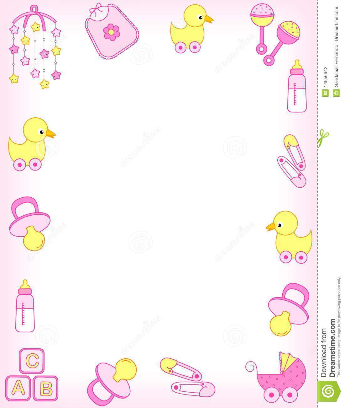 Baby Girl Border Clip Art Free 101 Cute Rattle.