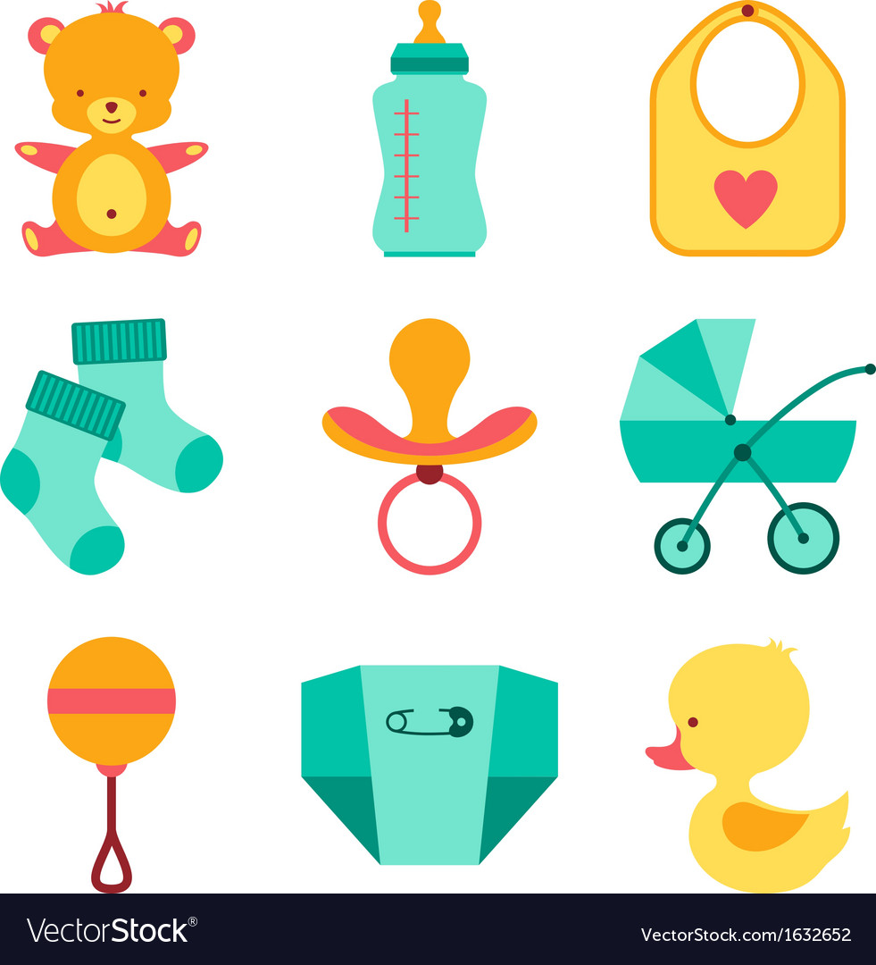 Newborn baby stuff icons set.