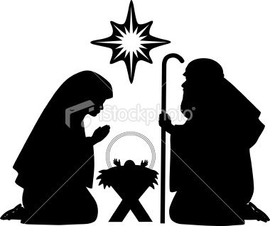 Nativity silhouettes including baby Jesus, Mother Mary, Joseph and.