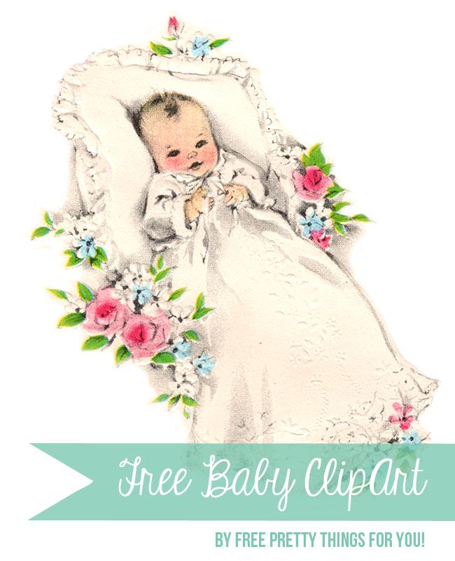 Free Large Vintage Baby Clip Art.