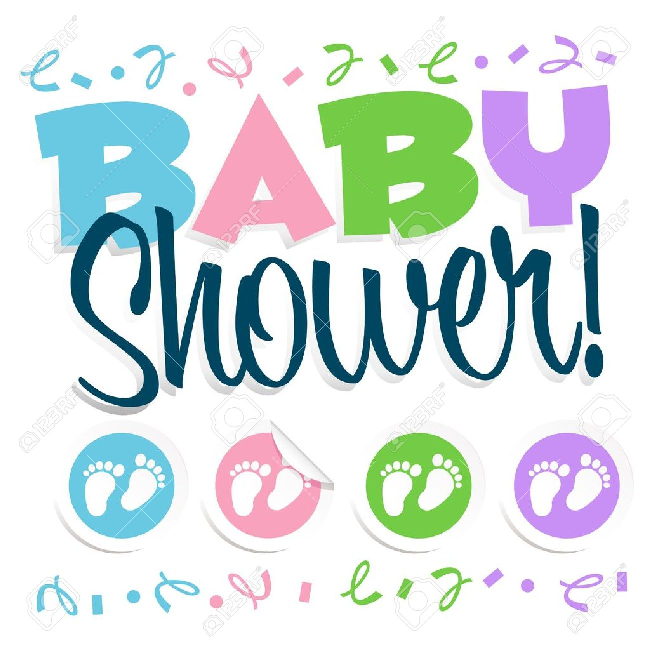 Collection of Baby shower clipart.