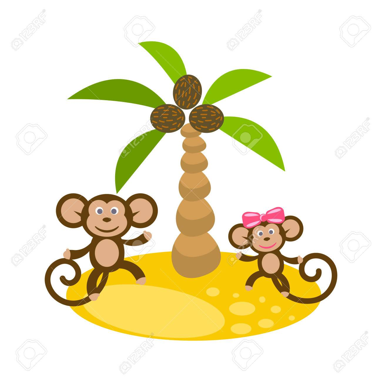 Dancing monkey couple near coconut palm tree clip art. Kid tshirt...