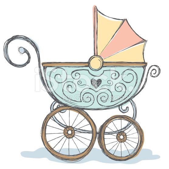 Hand drawn pen and ink color rendering of baby stroller..
