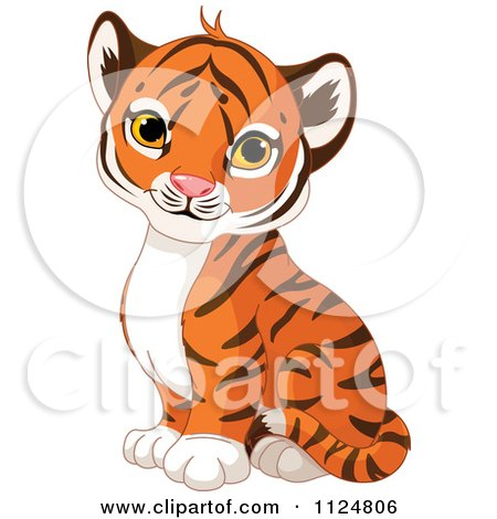 Clipart Cute Sitting Baby Tiger.