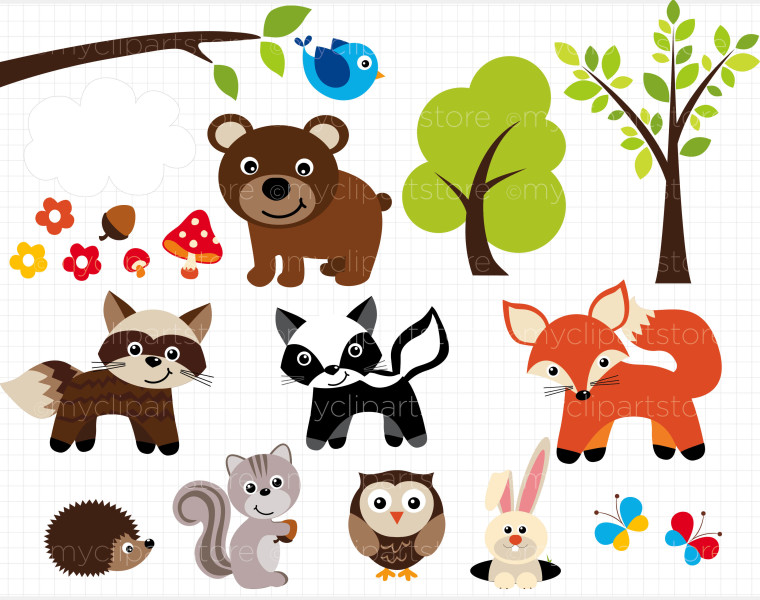 Baby Woodland Animals Clip Art free image.