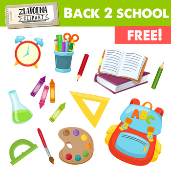 Back to School Clip Art / School Supplies Clip Art / Free Clip Art.