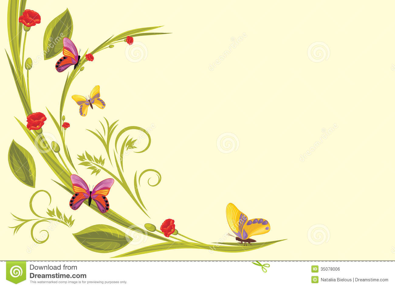 Decorative Background With Flowers And Butterflies Royalty Free.