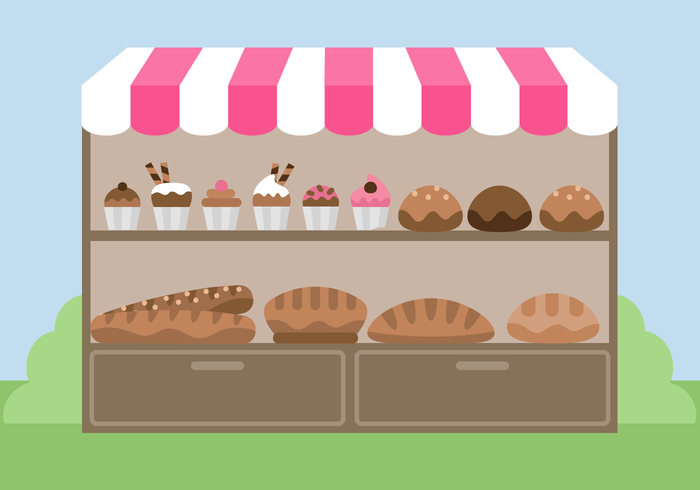 Free Bakery Stand Vector Download Art Stock Graphics Magnificient.