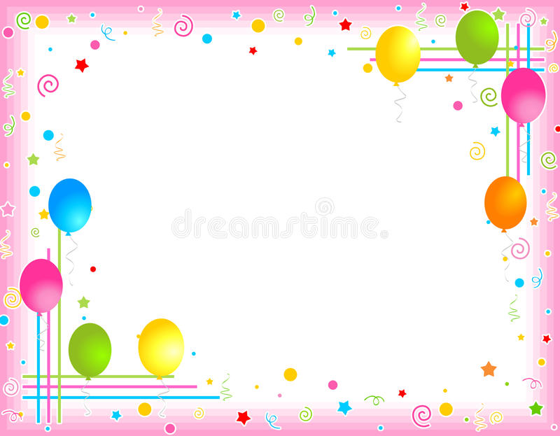 Colorful Balloons Border / Party Frame Stock Vector.