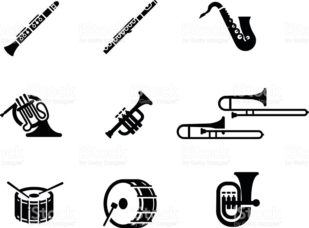 Marching Band Instruments Clipart.