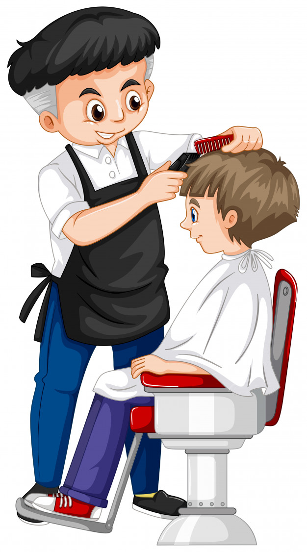 Barber giving boy haircut Vector.
