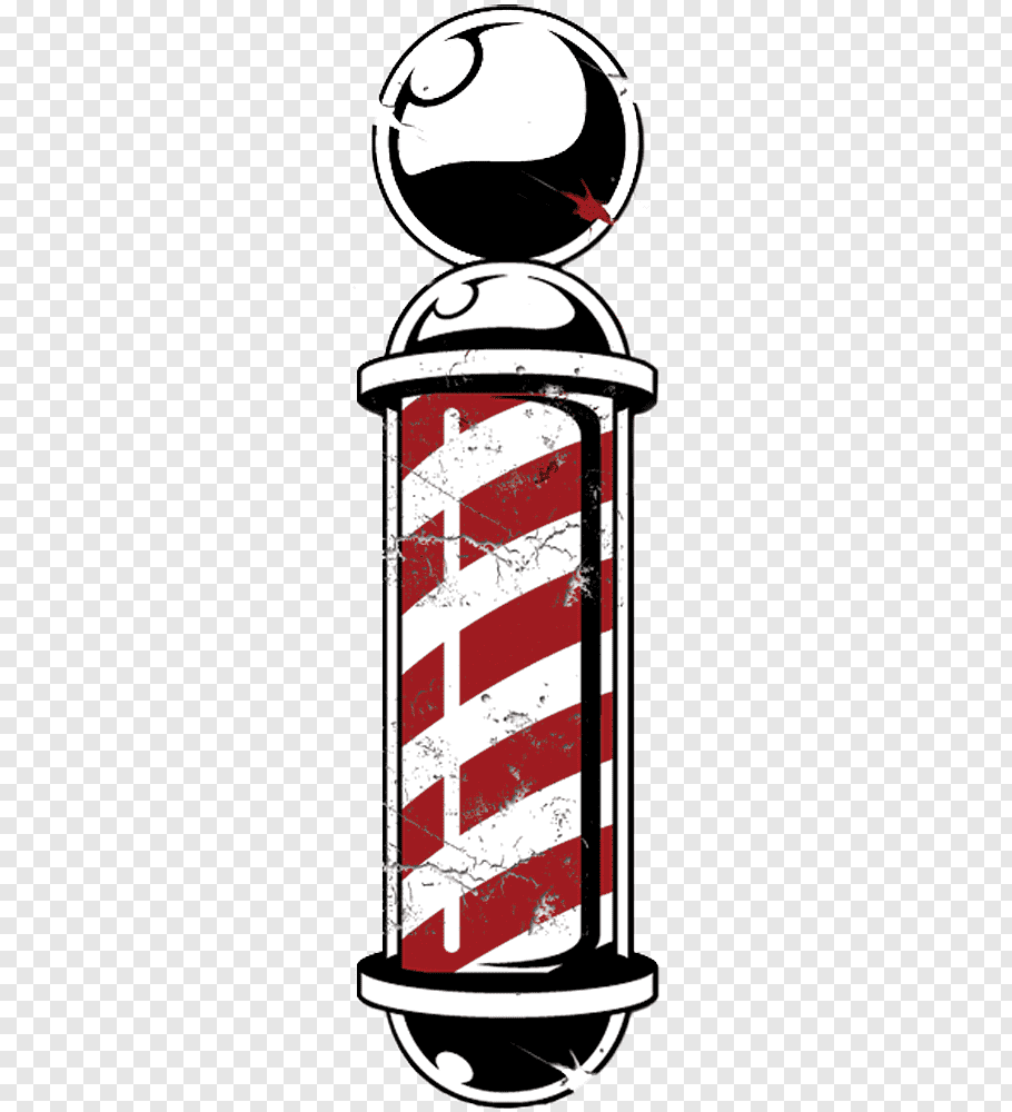 Red and white barber pole illustration, Barber\'s pole.