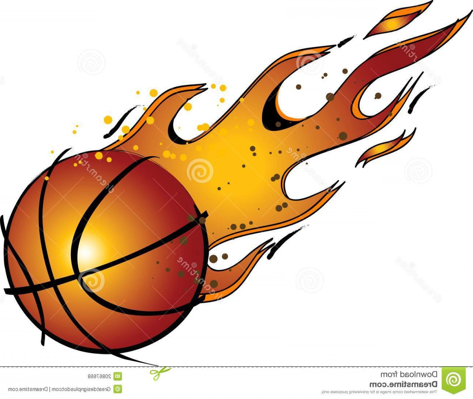 Royalty Free Stock Photos Flaming Basketball Vector Clip Art Image.