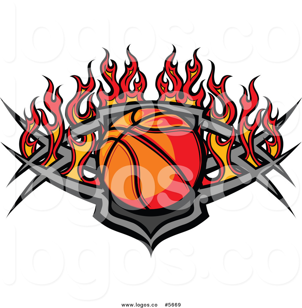 Royalty Free Vector of a Logo of a Tribal Basketball over Flames by.