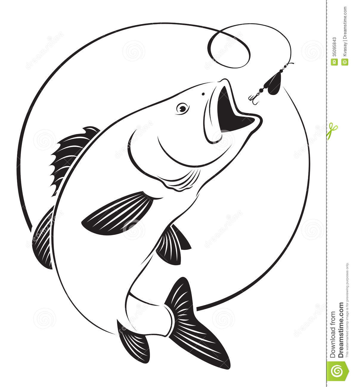 352 Bass Fish free clipart.